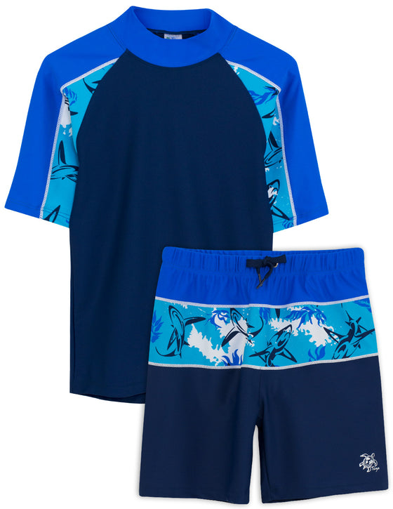 UV50+ Breaker Swim Shirt & Shorts-Laguna Blue