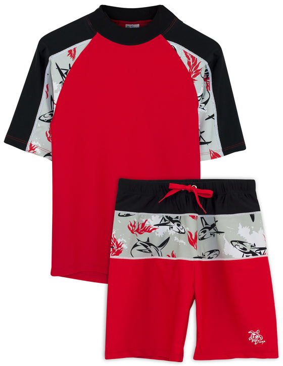 UV50+ Breaker Swim Shirt & Shorts-Carmino Red