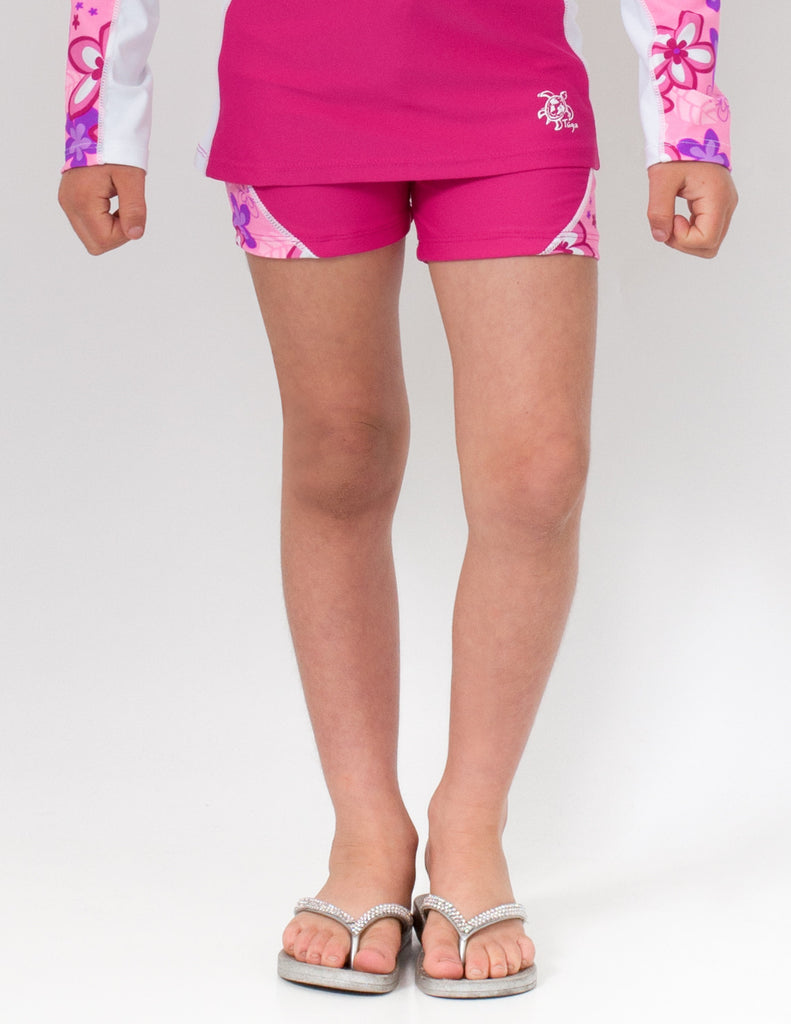 UV50+ Swim Short for Girls-Blossom Pink