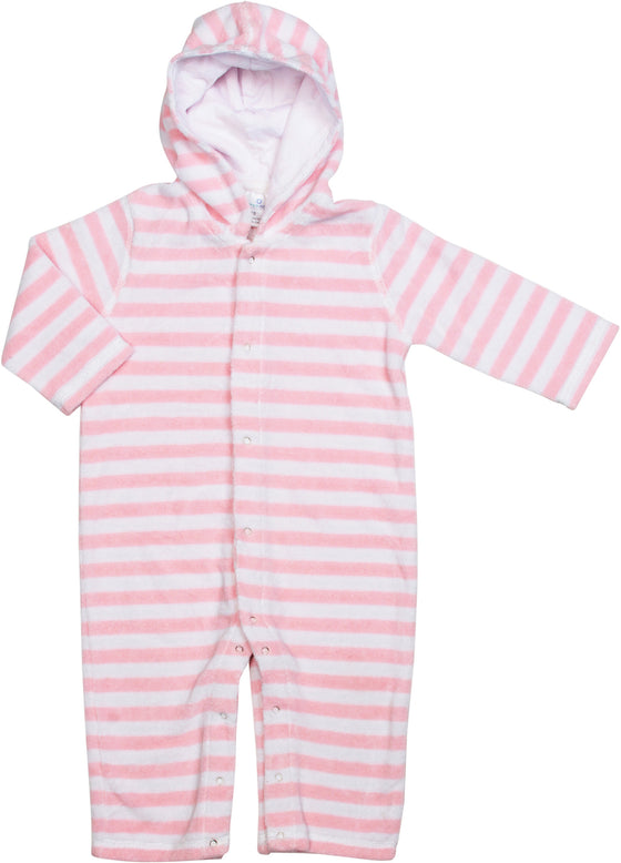 Infant/Baby Terrycloth Hooded Onesie-Pink/White