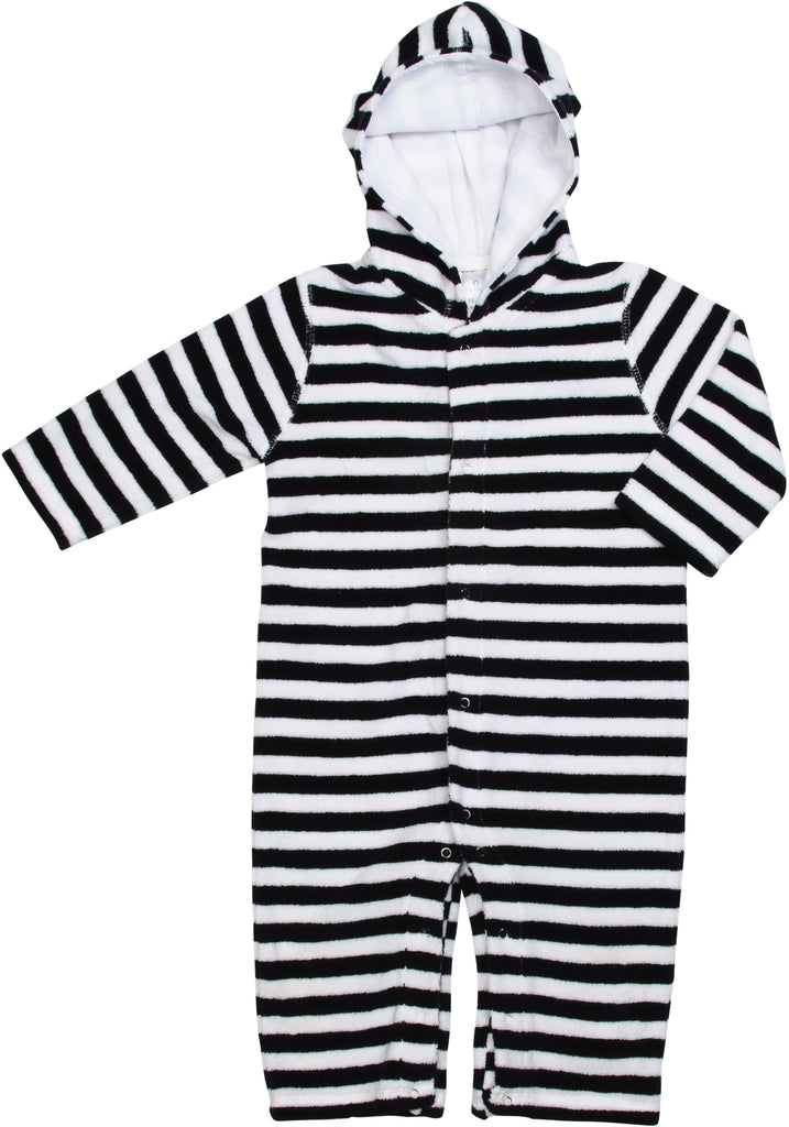 Infant/Baby Terrycloth Hooded Onesie-Navy/White Stripe