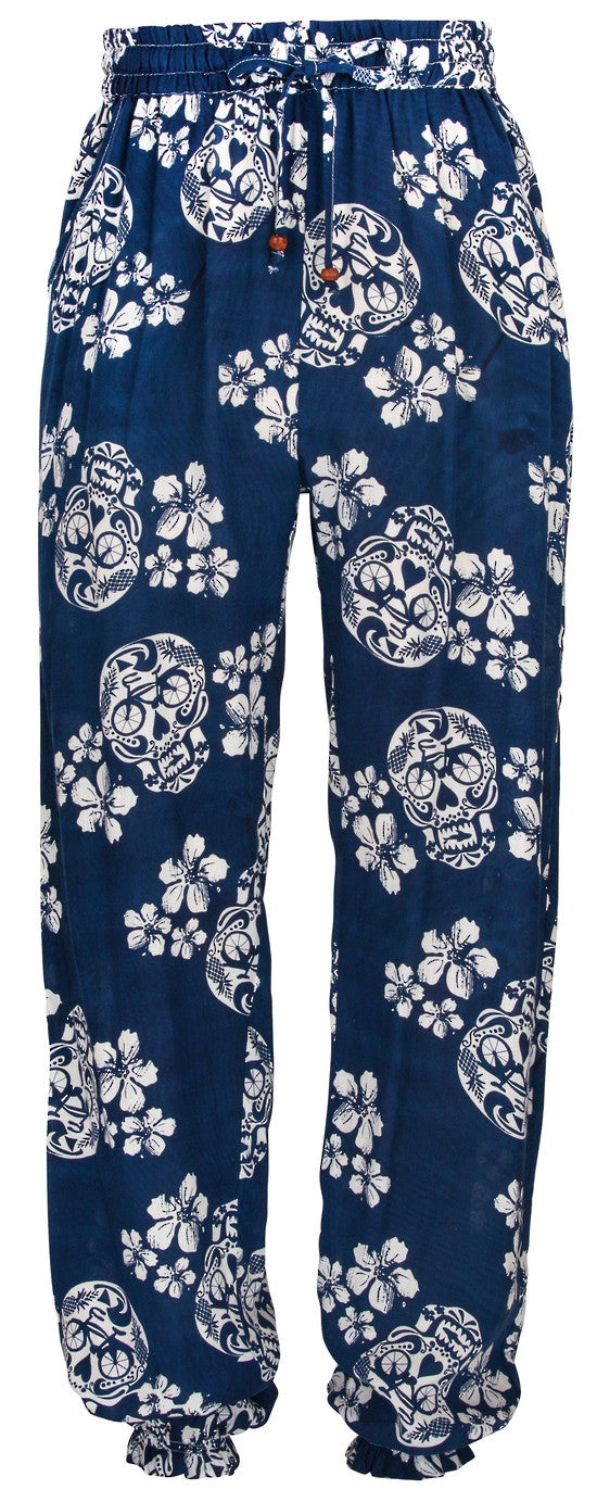 UV50+ Beach Pants- Navy Sugar Skull