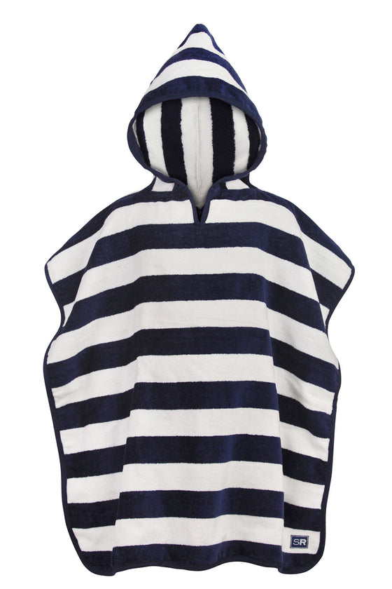 Hooded Towel-Navy & White Stripe