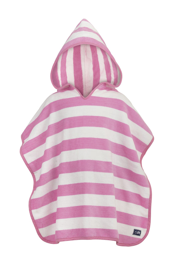 Hooded Towel-Pink & White Stripe