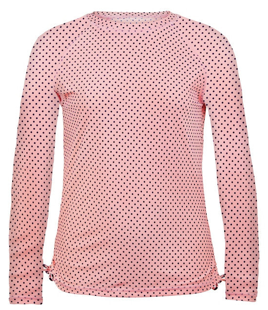 UV50+ Ballet Pink with Navy Dots LS Rash Top