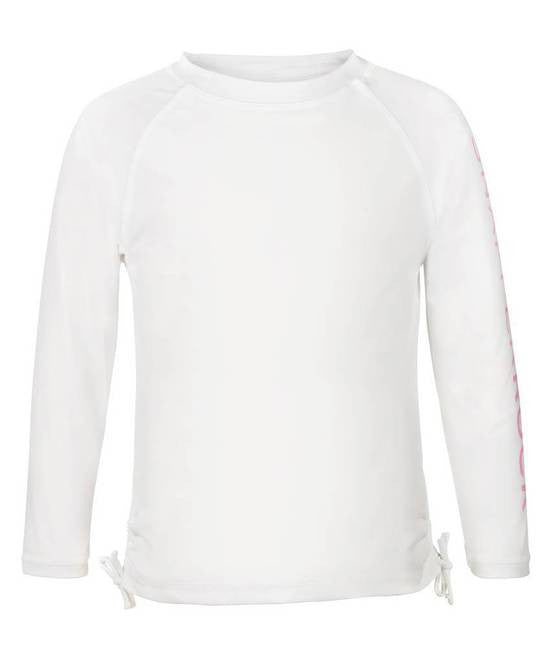 UV50+ White with Pink Sleeve Logo LS Rash Top