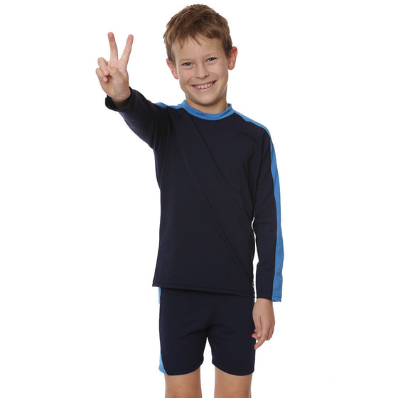 UV50+ Boys Two Piece Suit-Navy Blue/Ocean