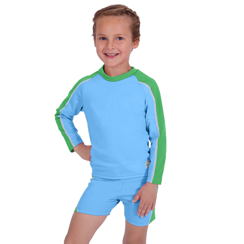 UV50+ Girls Two Piece Suit-Ocean Blue/Green