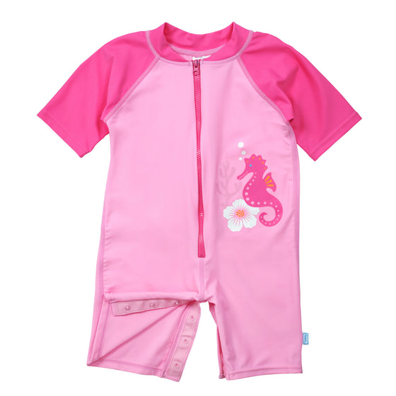 UV50+ Baby/Toddler Sun & Swim Suit-Pink Seahorse