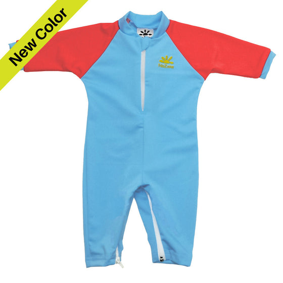 UV50+ Full Sun Coverage Wrist to Ankle Baby & Toddler Sunsuit- Aqua/Red