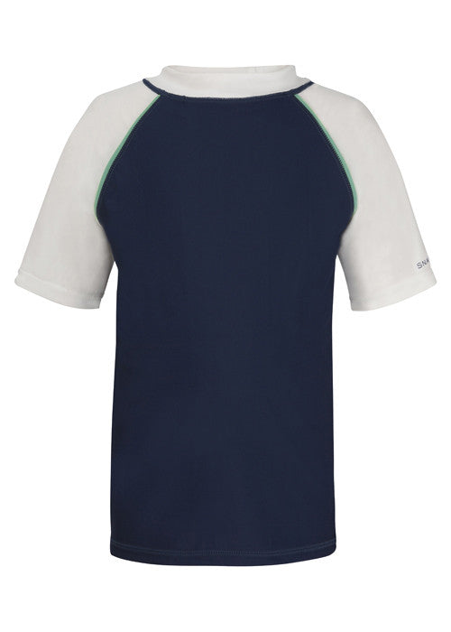 UV50+ Navy with Mint Piping Short Sleeve Rash Top