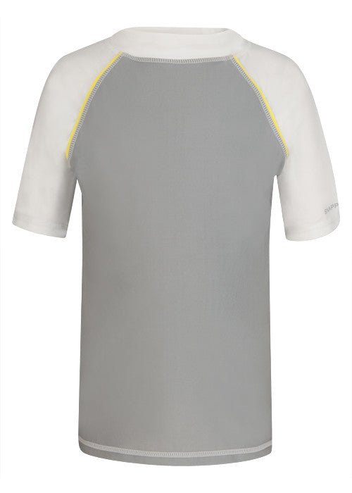 UV50+ Gray with Yellow Piping Short Sleeve Rash Top