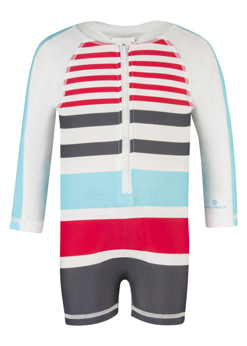 UV50+ Slate/Aqua/Red Sleeve Sunsuit