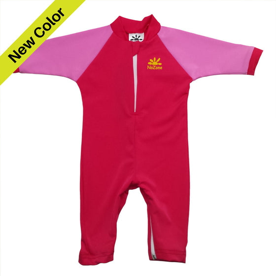 UV50+ Full Sun Coverage Wrist to Ankle Baby & Toddler Sunsuit-Cherry/Pink