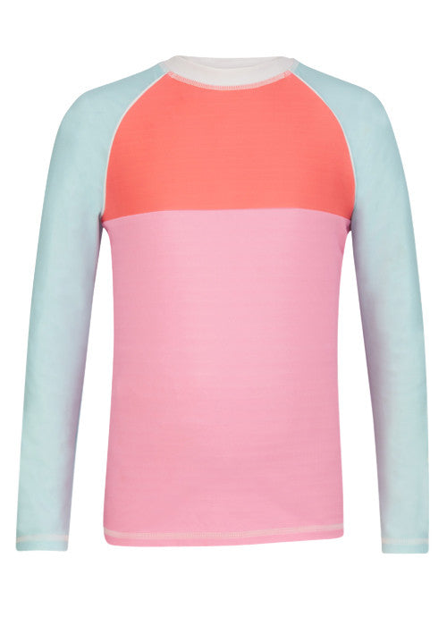 UV50+ Pink/Aqua Colorblock LS Rash Top