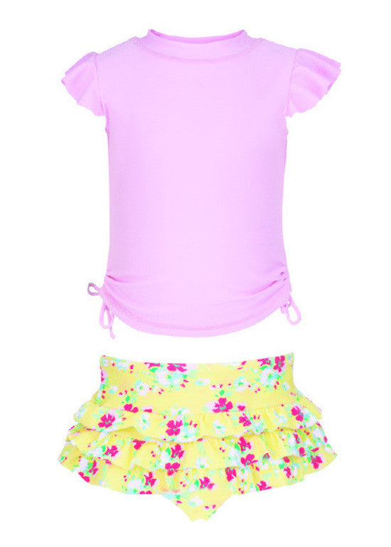 UV50+ Lemon Floral Ruffle Set
