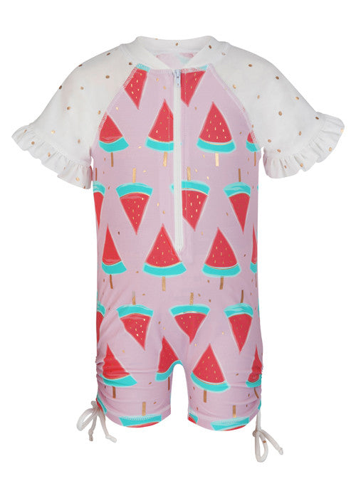 UV50+ Watermelon Short Sleeve Sunsuit