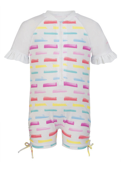 UV50+ Watercolor Stroke Short Sleeve Sunsuit
