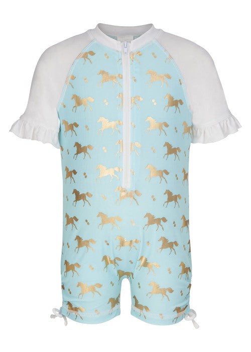 UV50+ Golden Pony Short Sleeve Sunsuit