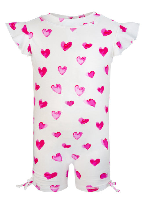 UV50+ Hearts Flutter Sleeve Sunsuit