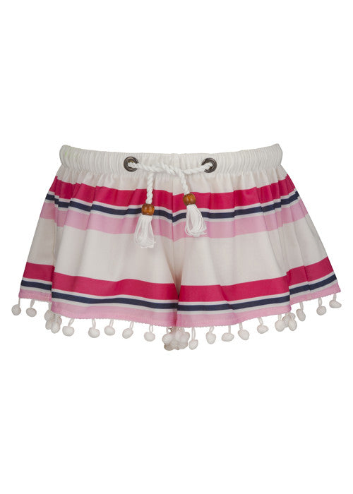 Pink/Navy Cabana Stripe Swim Shorts