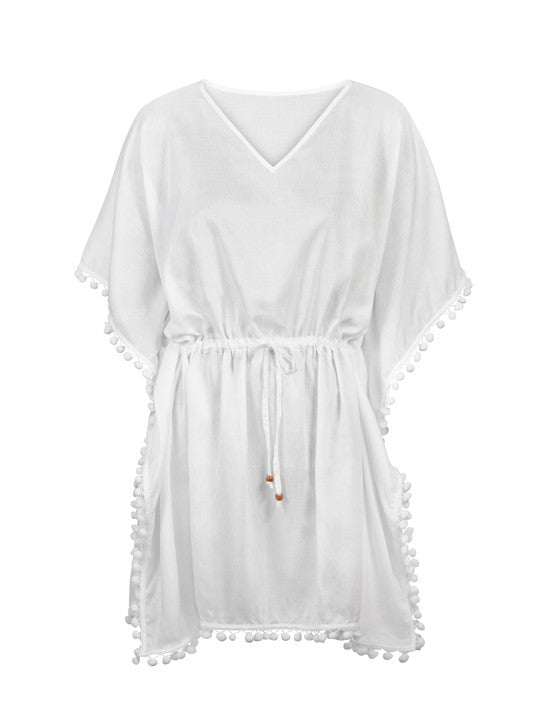 UV50+ Solid White Batwing Kaftan for Women