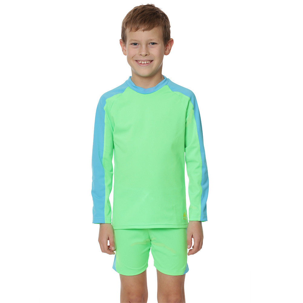 UV50+ Boys Two Piece Suit-Lime/Aqua