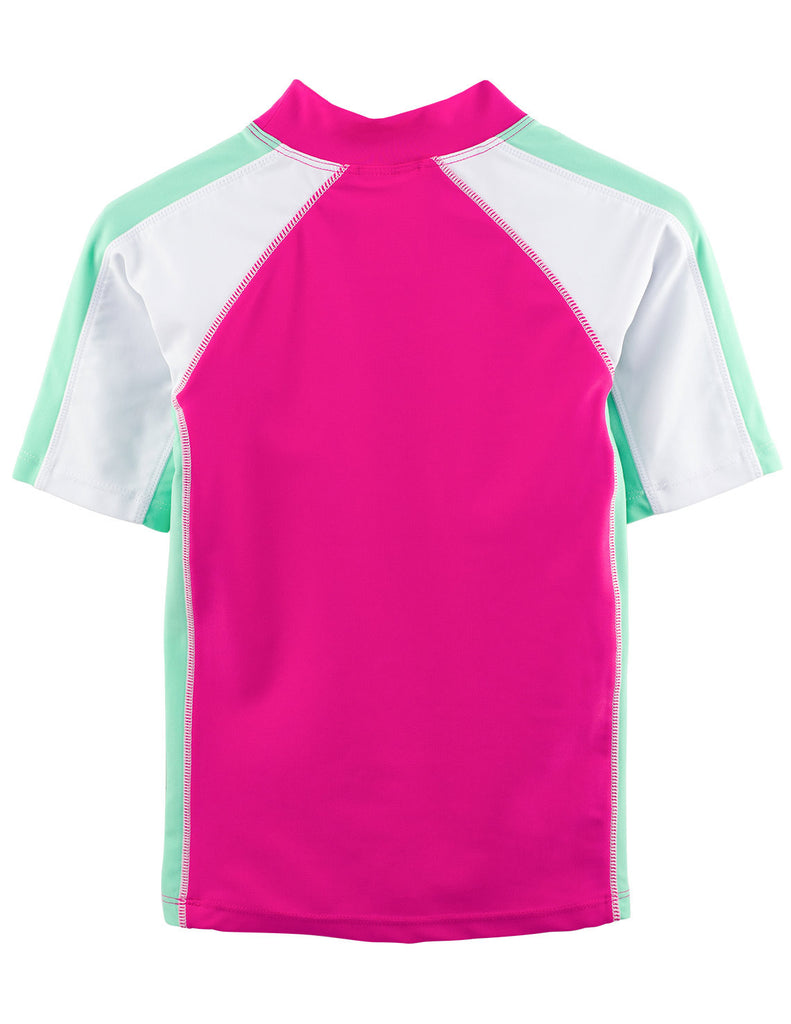 UV50+ Girls Poppy Pink Short Sleeve Swim Shirt -Chlorine Resistant
