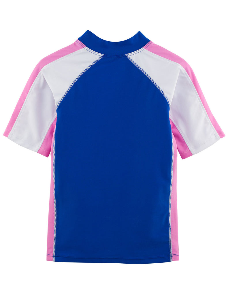 UV50+ Girls Buttercup Blue Short Sleeve Swim Shirt -Chlorine Resistant