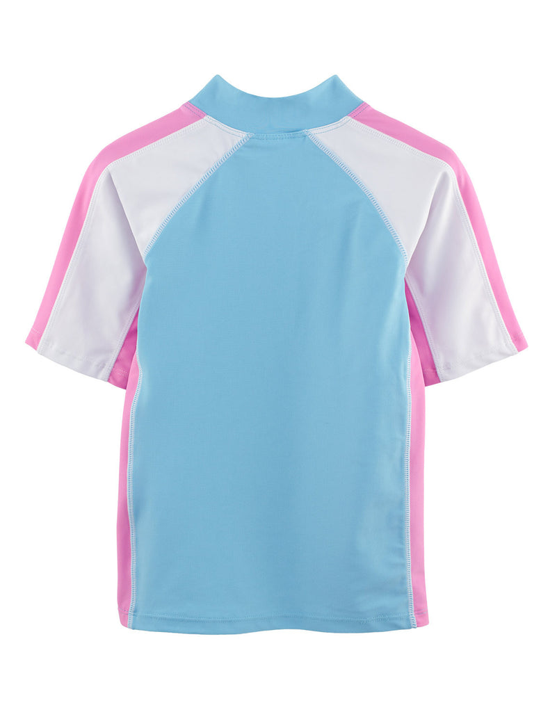 UV50+ Girls Mallow Turquoise Short Sleeve Swim Shirt -Chlorine Resistant
