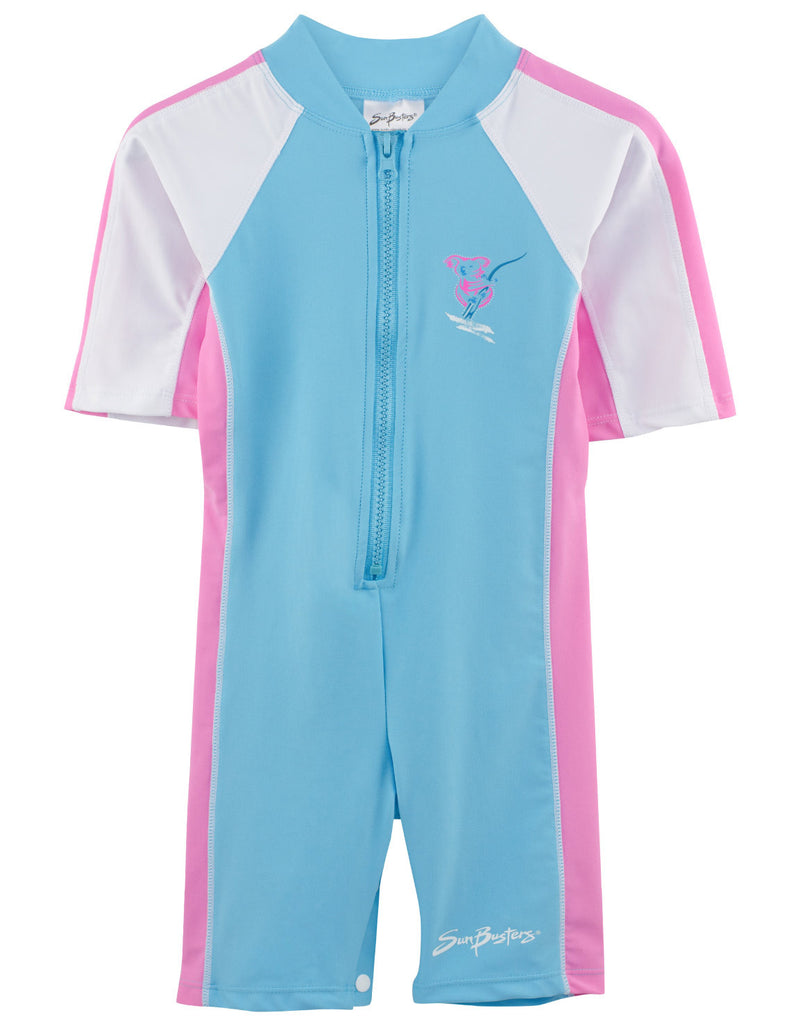 UV50+ Short Sleeve Sunsuit-Mallow Turquoise