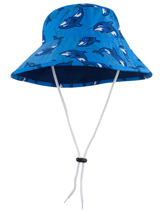 UV50+ Reversible Bucket Sun Hat-Sky Orca