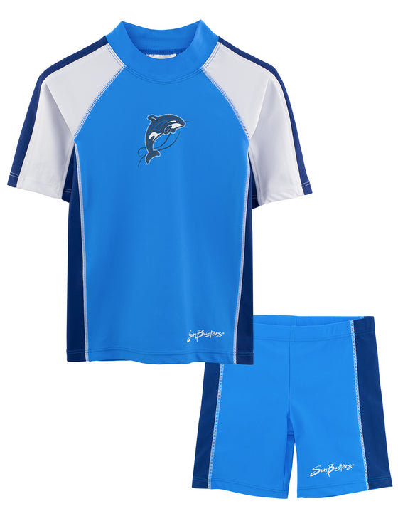 UV50+ Short Sleeve Swim Shirt & Shorts Set-Splash Blue