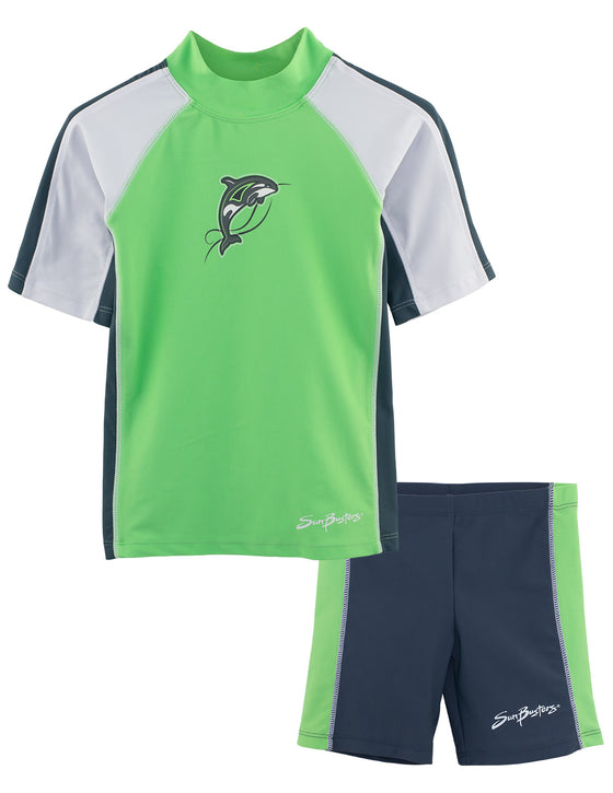 UV50+ Short Sleeve Swim Shirt & Shorts Set-Mantis Green