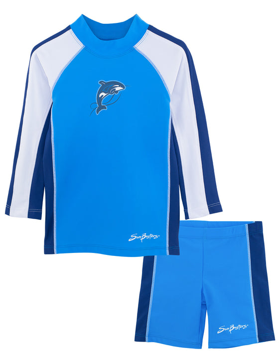 UV50+ Long Sleeve Swim Shirt & Shorts Set-Splash Blue