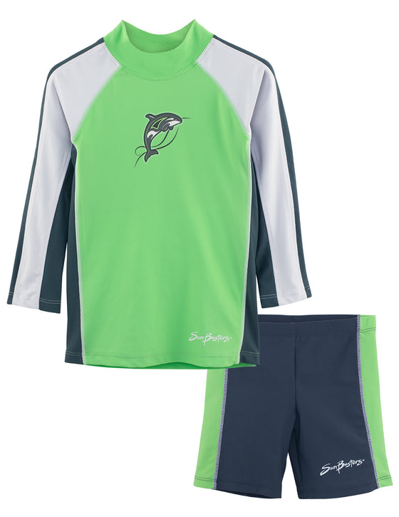 UV50+ Long Sleeve Swim Shirt & Shorts Set-Mantis Green