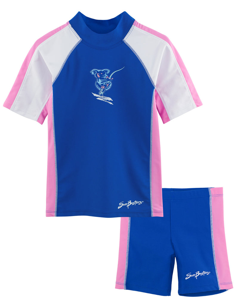 UV50+Short Sleeve Swim Shirt & Shorts Set-Buttercup Blue