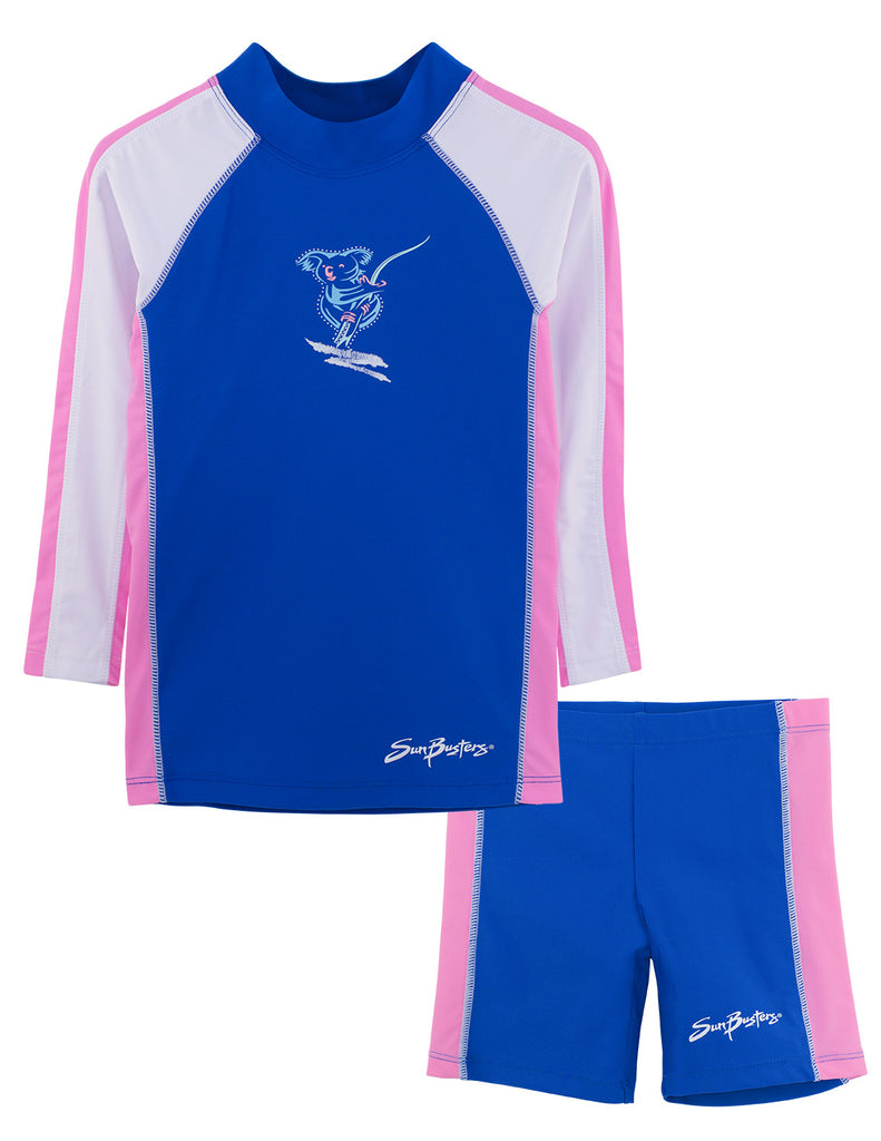 UV50+ Long Sleeve Swim Shirt & Shorts Set-Buttercup Blue