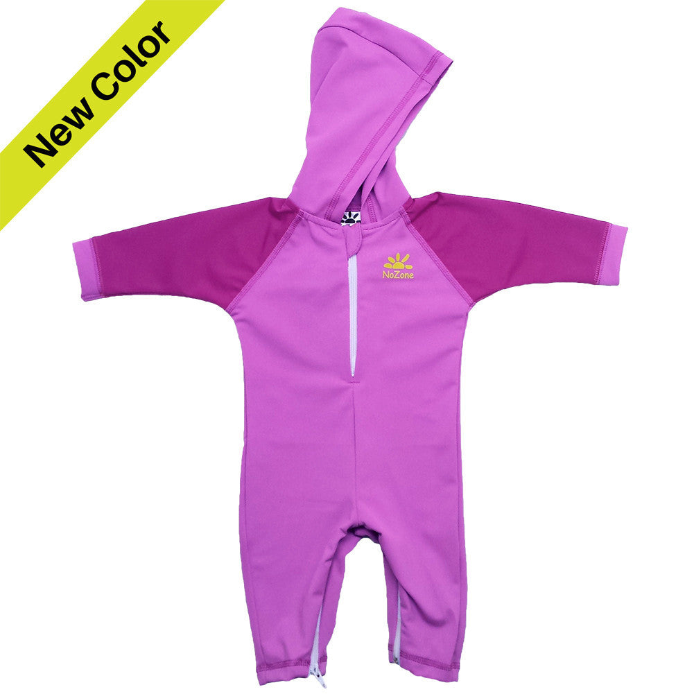 UV50+ Hooded Wrist to Ankle Baby & Toddler Sunsuit-Purple Bahama