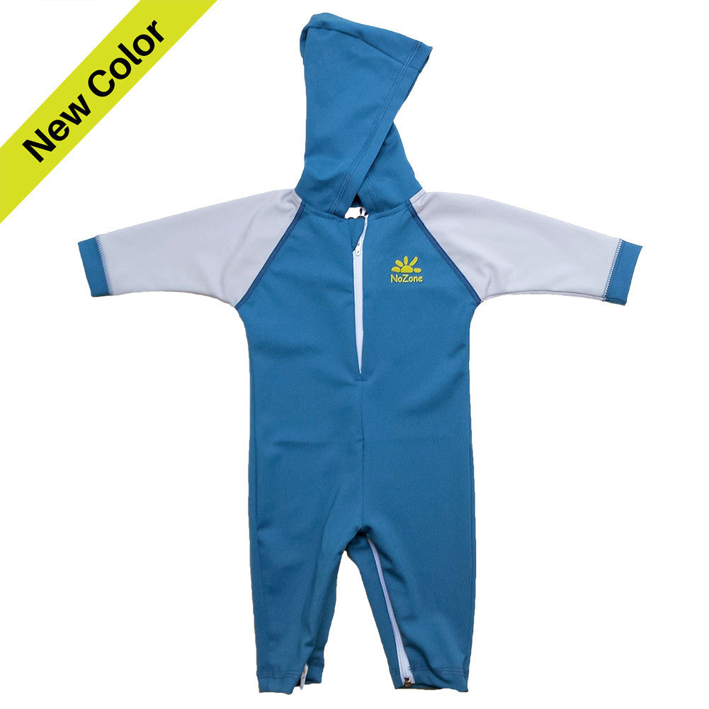 UV50+ Hooded Wrist to Ankle Baby & Toddler Sunsuit-Blue Titanium