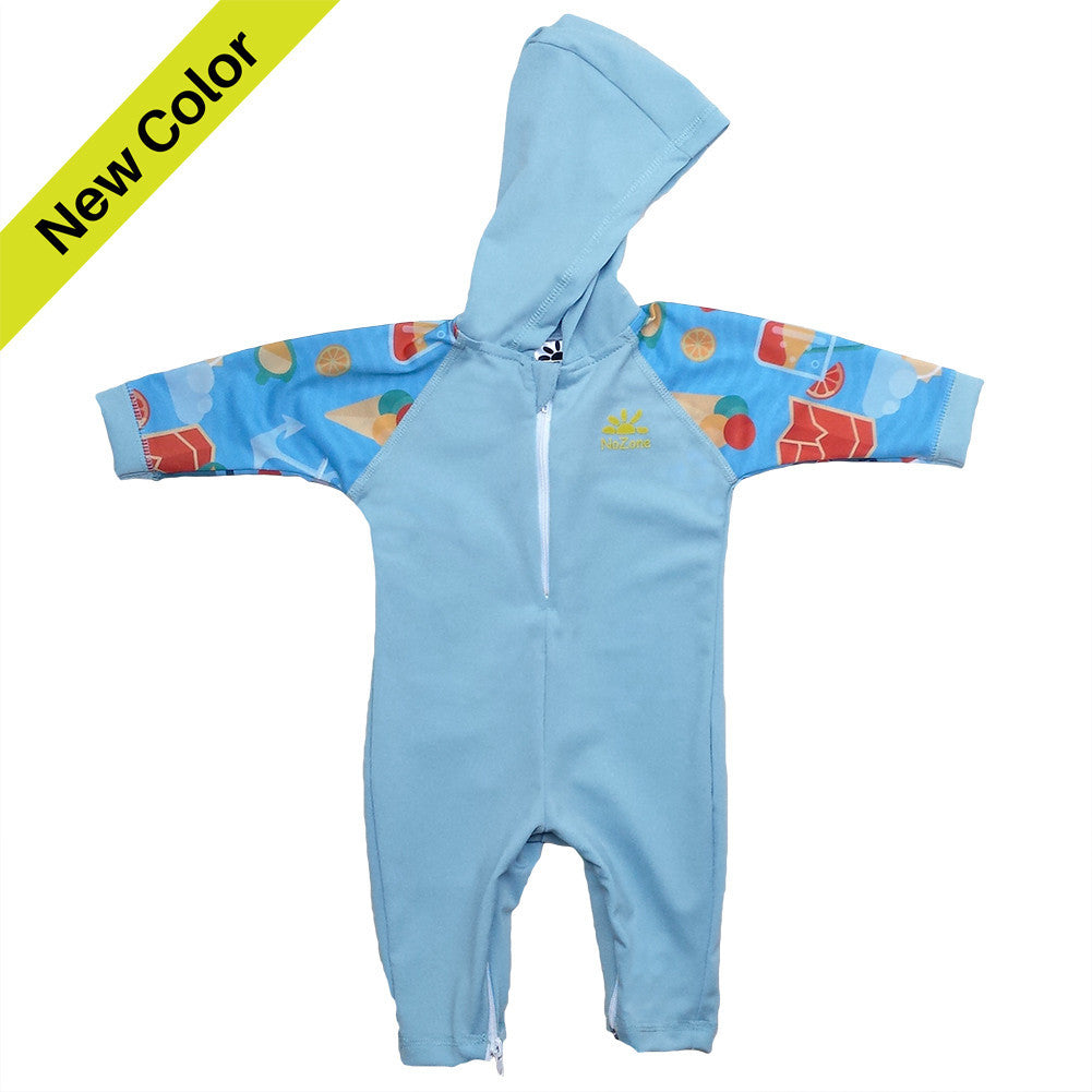 UV50+ Hooded Wrist to Ankle Baby & Toddler Sunsuit- Aqua Sea Print