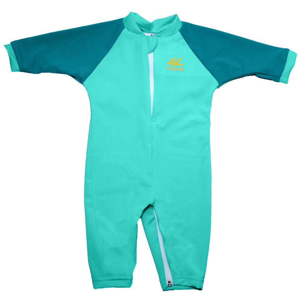 UV50+ Full Sun Coverage Wrist to Ankle Baby & Toddler Sunsuit-Aqua/Teal