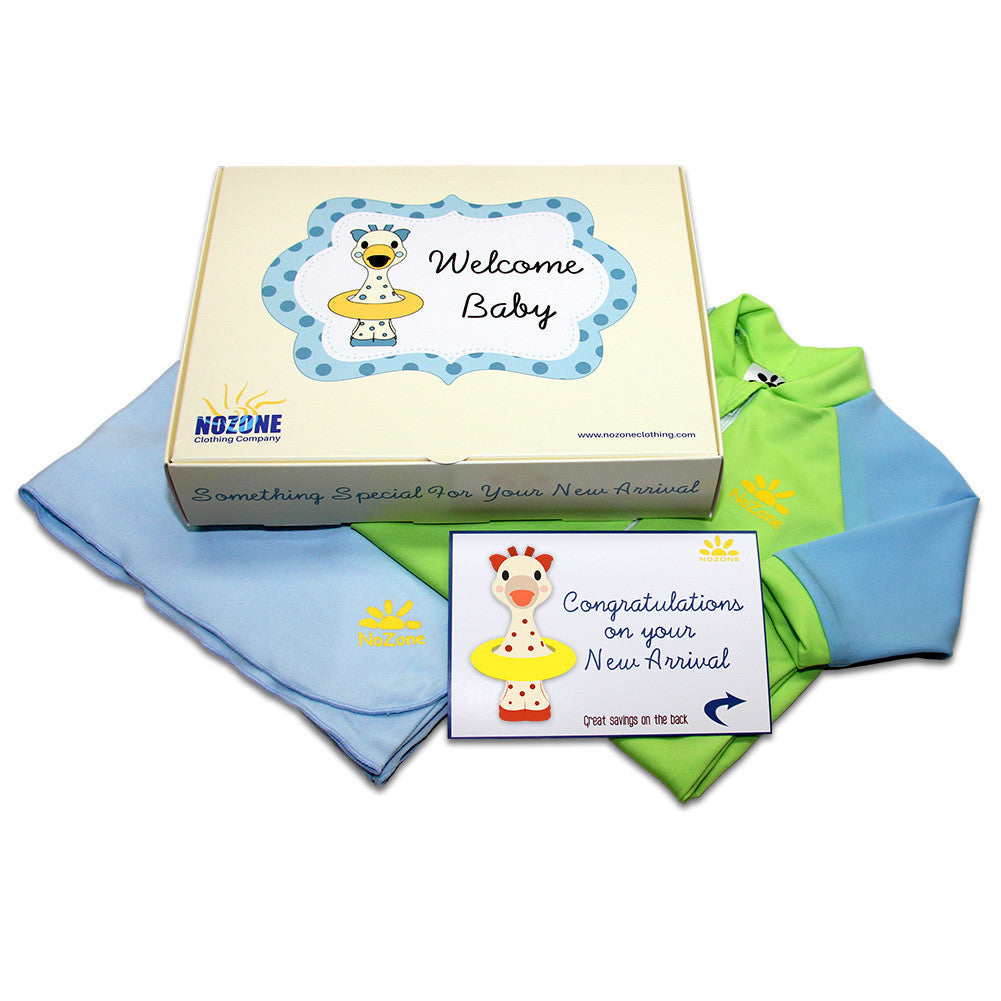 UV50+ Welcome Baby Wrist to Ankle Sunsuit & Sun Blanket Gift Set-Blue/Green