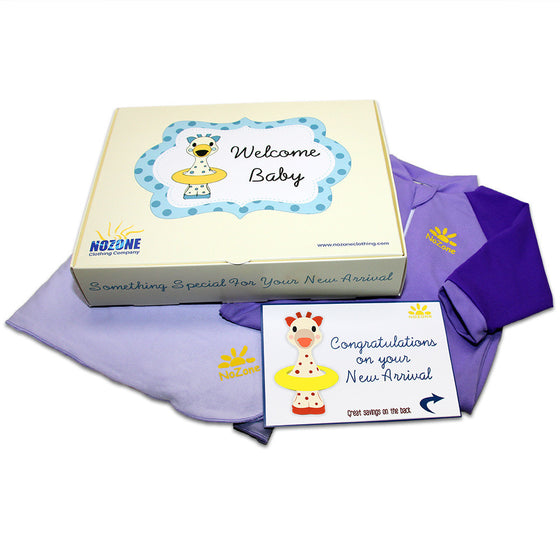 UV50+ Welcome Baby Wrist to Ankle Sunsuit & Sun Blanket Gift Set-Lavender