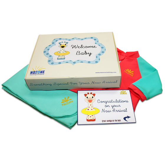 UV50+ Welcome Baby Wrist to Ankle Sunsuit & Sun Blanket Gift Set-Aqua/Red