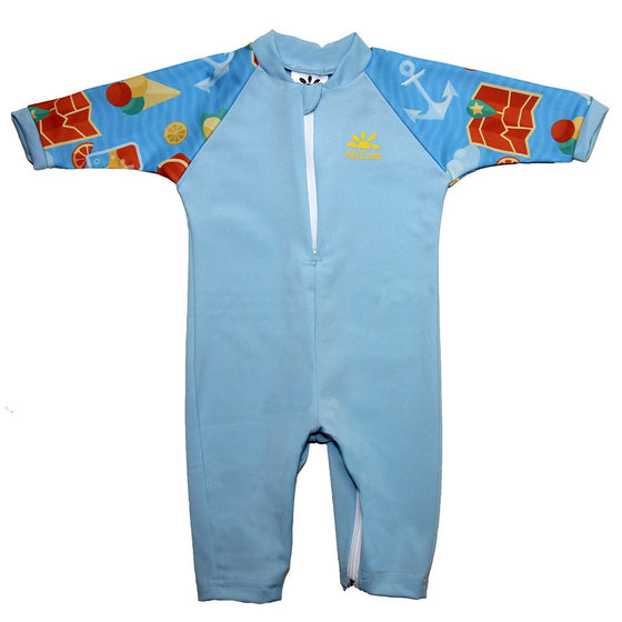 UV50+ Full Sun Coverage Wrist to Ankle Baby & Toddler Sunsuit- Aqua Sea Print