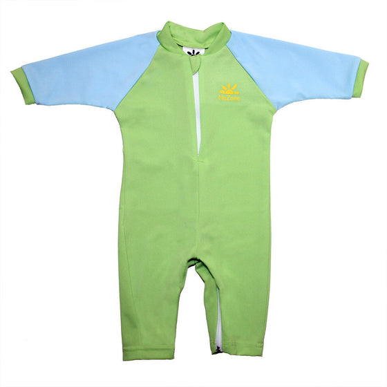 UV50+ Full Sun Coverage Wrist to Ankle Baby & Toddler Sunsuit-Green/Blue