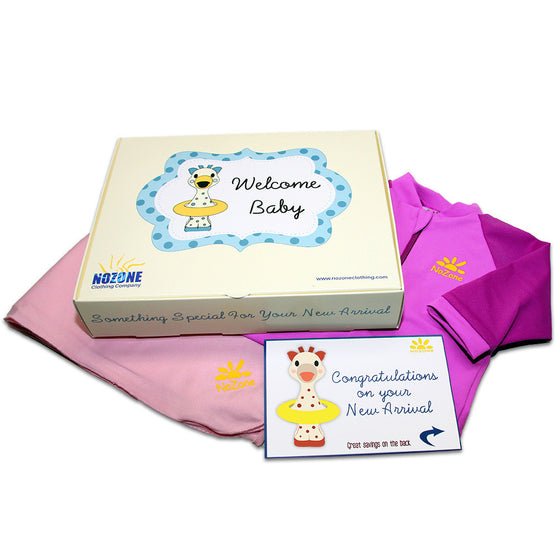 UV50+ Welcome Baby Wrist to Ankle Sunsuit & Sun Blanket Gift Set-Fuschia