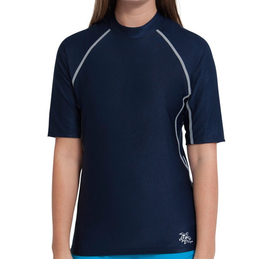 UV50+ Chlorine Resistant Short Sleeve Women's Swim Shirt-