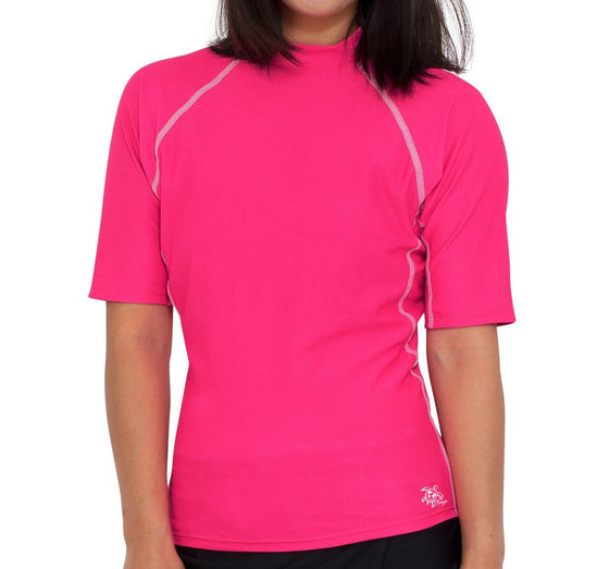UV50+ Chlorine Resistant Short Sleeve Women's Swim Shirt-Pink
